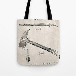 Firemans Axe Patent - Fire Fighter Art - Antique Tote Bag