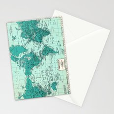 World Map in Teal Stationery Cards