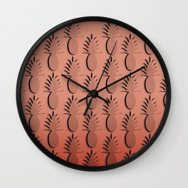 Pineapple Lines - coral Wall Clock