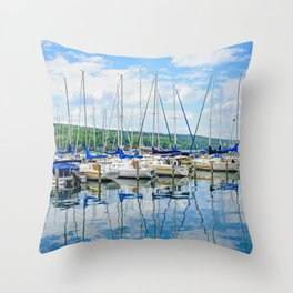 Glen Harbour Marina Throw Pillow