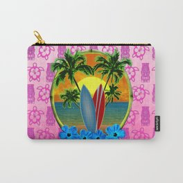 Pink Tikis Sunset And Surfboards Carry-All Pouch