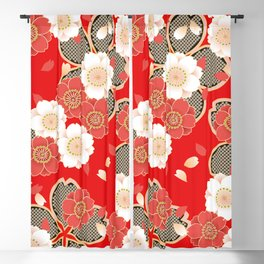 Japanese Vintage Red Black White Floral Kimono Pattern Blackout Curtain