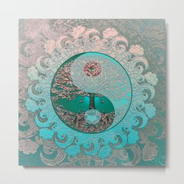 Pretty Chic Teal Tree of Life with Yin Yang and Heart Metal Print