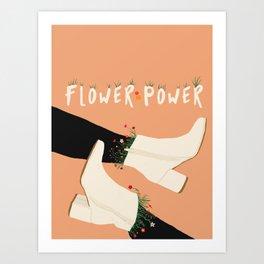 Flower Power Boots on Peach Background Art Print