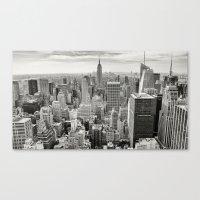 manhattan Canvas Prints featuring Manhattan by Sébastien BOUVIER