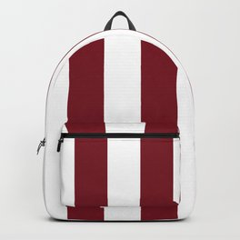Deep Red Pear and White Wide Vertical Cabana Tent Stripe Backpack