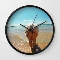 booty Wall Clocks featuring Beach Booty by Anthony Leo Photography