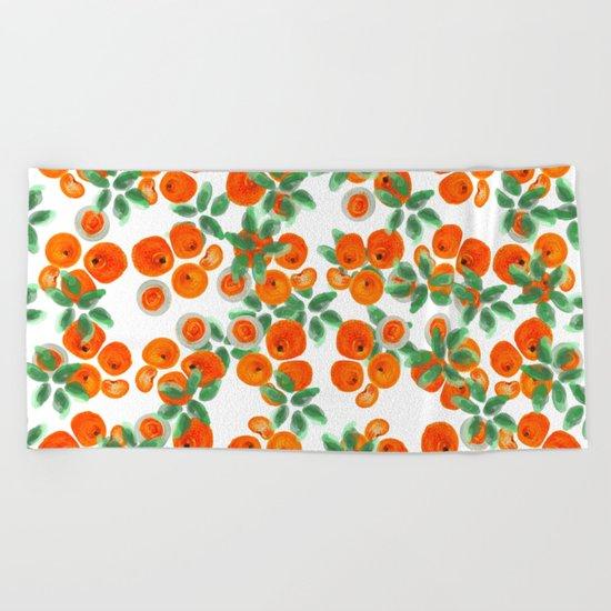 Fresh Orange Juice Pattern Beach Towel