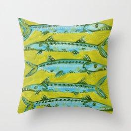 Barracuda on Yellow Throw Pillow