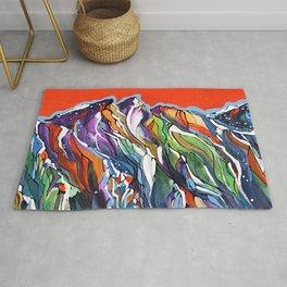 Freezing Hot Colorful Mountain Art Rug