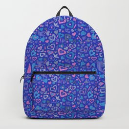 Hearts Paper Collage Valentines Day Pattern Ultramarine Backpack