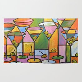 Abstract Art Wine Bar Alcohol Painting ... Martinis and Olives Rug