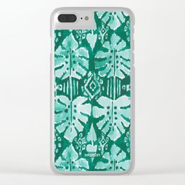 JUNGLE IKAT Green Tropical Monstera Clear iPhone Case