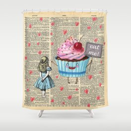 Eat Me - Alice In Wonderland - Vintage Dictionary Page Shower Curtain