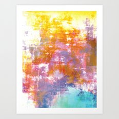 OFF THE GRID 3 Colorful Pastel Neon Purple Rust Yellow Abstract Watercolor Acrylic Textural Painting Art Print