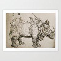 Rhino inspired by Durer  Art Print