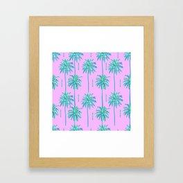 1980s 80s Vintage Retro Radical Miami Nice Palm Tree Pattern Framed Art Print