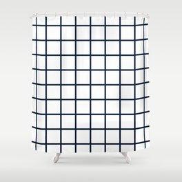 GRID DESIGN (NAVY BLUE-WHITE) Shower Curtain