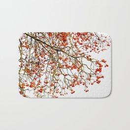 Red rowan fruits or ash berries Bath Mat
