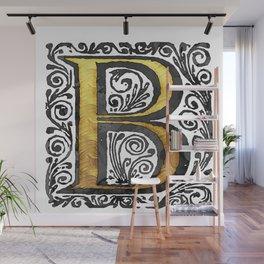 Beautiful Monogram Letter 'B' Vintage Style Wall Mural