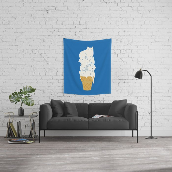 Cats Ice Cream Wall Tapestry