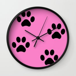 Pink Pawprints Wall Clock