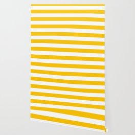 Aspen Gold Yellow and White Wide Horizontal Cabana Tent Stripe Wallpaper