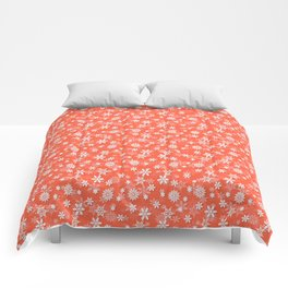 Festive Living Coral Orange Pink and White Christmas Holiday Snowflakes Comforters