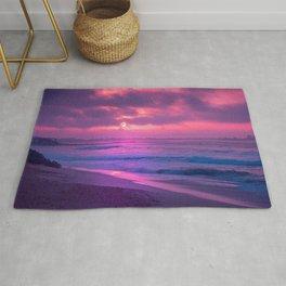Romantic Sunset At Beautiful Seashore Purple Shade Ultra HD Rug