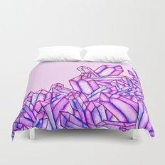 Pink purple watercolor paint crystals gem pattern Duvet Cover