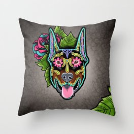 Doberman with Cropped Ears - Day of the Dead Sugar Skull Dog Throw Pillow