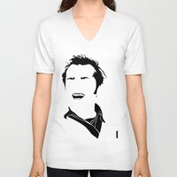 jack nicholson V-neck T-shirts featuring Faceless Nicholson by StayDry