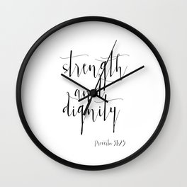Bible Verse Proverbs31:25 Christian Quote Typography Wall Art Printable Art Bible Verse Printable Wall Clock