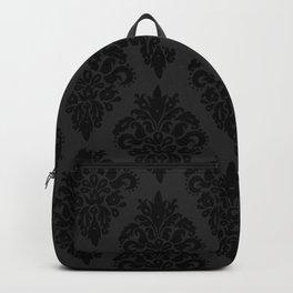 Classic Black Dark Grey Damask Pattern Backpack