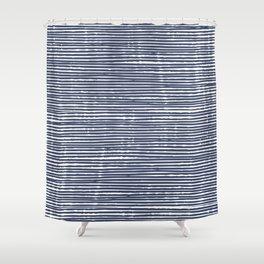 Abstract Stripes Pattern, Indigo, Navy Blue Shower Curtain