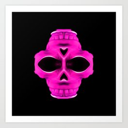 pink psychedelic skull portrait with black background Art Print