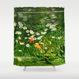 Upside Down Daisies Shower Curtain