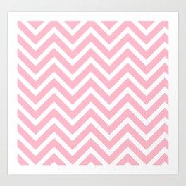 Chevron Stripes : Pink & White Art Print