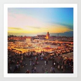 Sunset on Marrakech Art Print