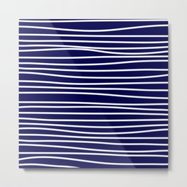 Navy Blue & White Maritime Hand Drawn Stripes- Mix & Match with Simplicity of Life Metal Print