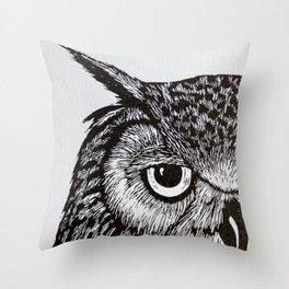 Black&White Owl Throw Pillow