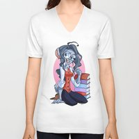 bookworm V-neck T-shirts featuring Bookworm Chinchilla by Digitoonie