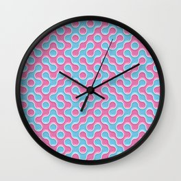 Blue Pink Truchet Tilling Pattern Wall Clock