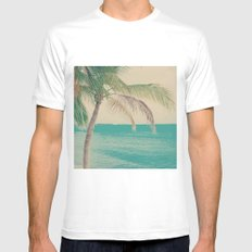 Coco Palm in the Beach  MEDIUM White Mens Fitted Tee