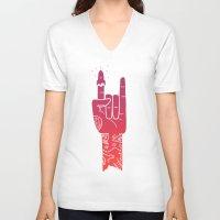 rocket V-neck T-shirts featuring ROCKet by prawidana