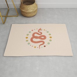Mid Century Magic Magical Snake Mystical Pink Pastel Colors Rug
