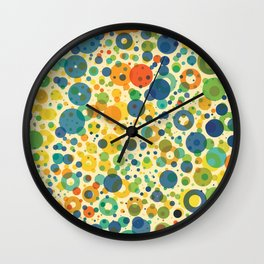 Colorful Rings And Dots Wall Clock