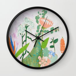 Multi Floral Painting on Pink and White Background Wall Clock