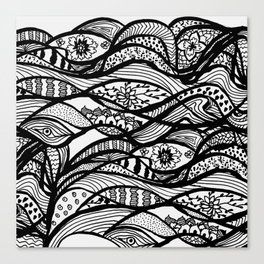 Hand painted black white watercolor abstract floral Canvas Print