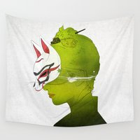 mask Wall Tapestries featuring Fox Mask _side face by SEVENTRAPS
